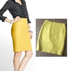 J. CREW No. 2 Pencil Wool Yellow Skirt